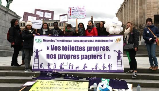 La ligue des travailleuses domestiques en lutte pour défendre leurs droits. ©Camille Trinquet