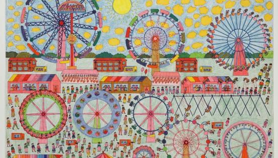 Fête foraine avec des manèges de toutes les couleurs - dessin de Helmut Nimczewski