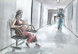 Aquarelle : une femme enceinte est assise dans un couloir d'hopital. Un soignant arrive vers elle.
